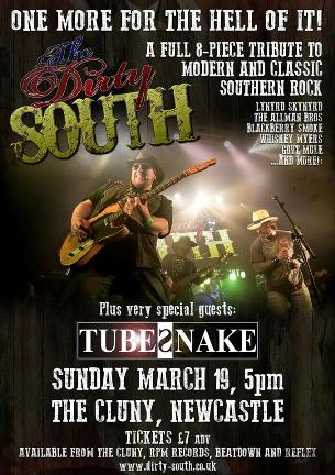 The Dirty South with special guests Tubesnake (poster by steve gilroy)