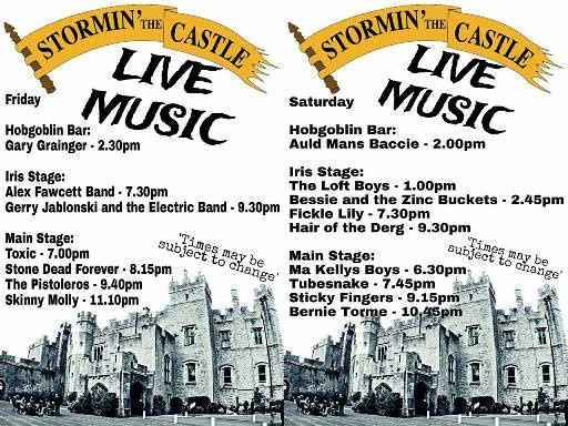Stormin' The Castle 2016 Full Line-Up (poster by steve cockburn 'cosy')