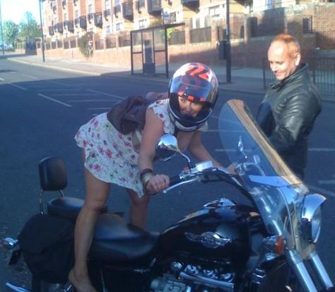 girl on a motorcycle (by barbershop steve)
